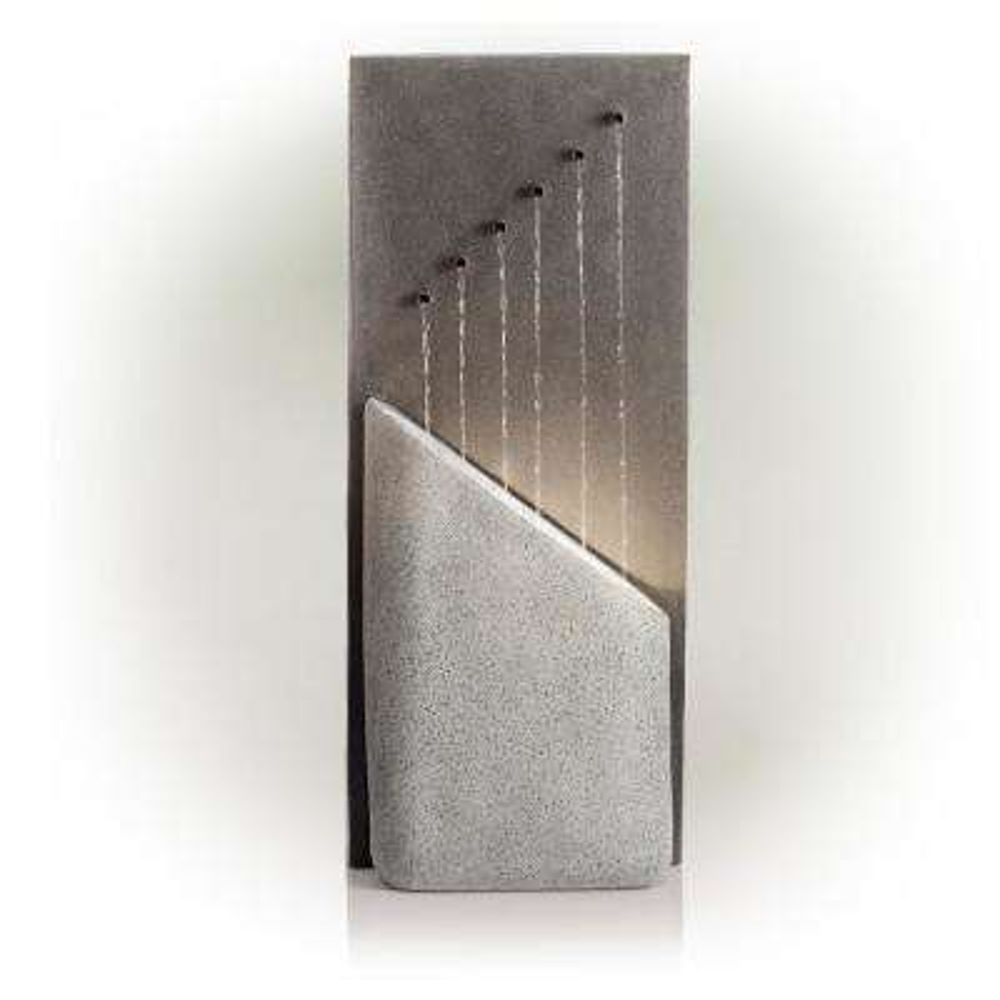 """Alpine Corporation 40"""" Tall Indoor/Outdoor Infinity Calming Floor Fountain, Grey"""