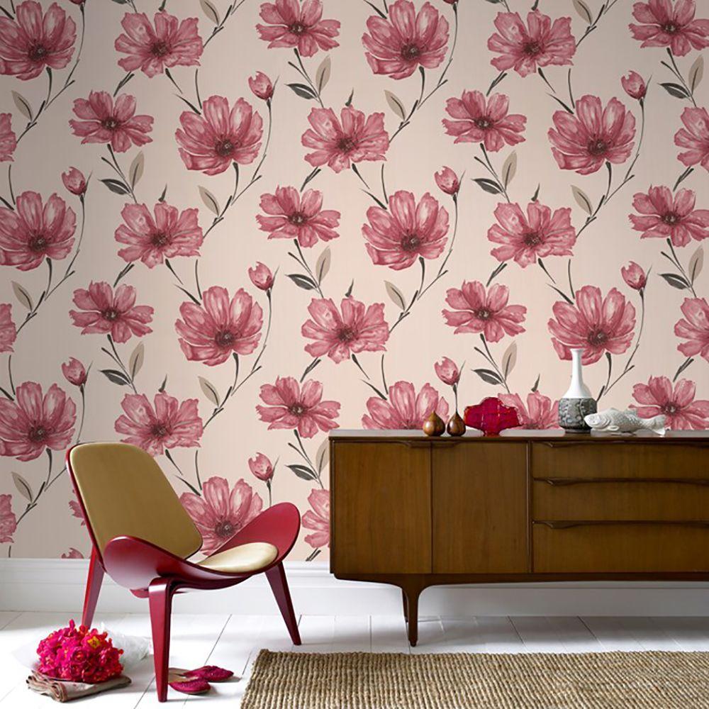 Floral Room Wallpaper: Graham & Brown Spirit Red Wallpaper-50-042