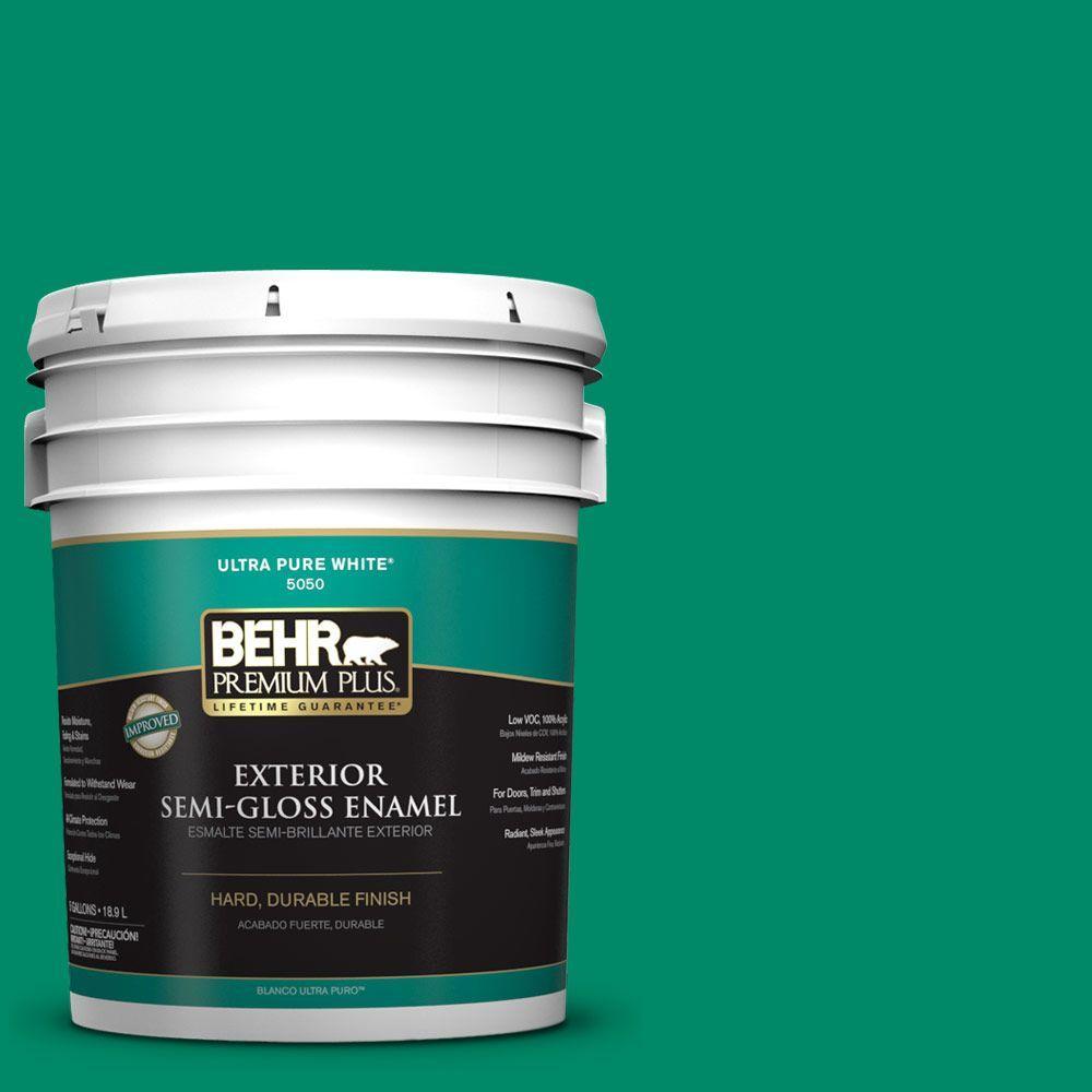 BEHR Premium Plus 5-gal. #S-G-470 Festive Green Semi-Gloss Enamel Exterior Paint