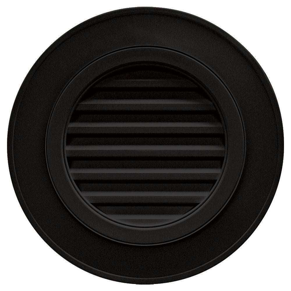 Builders Edge 28 in. Round Gable Vent in Black (without Keystones)