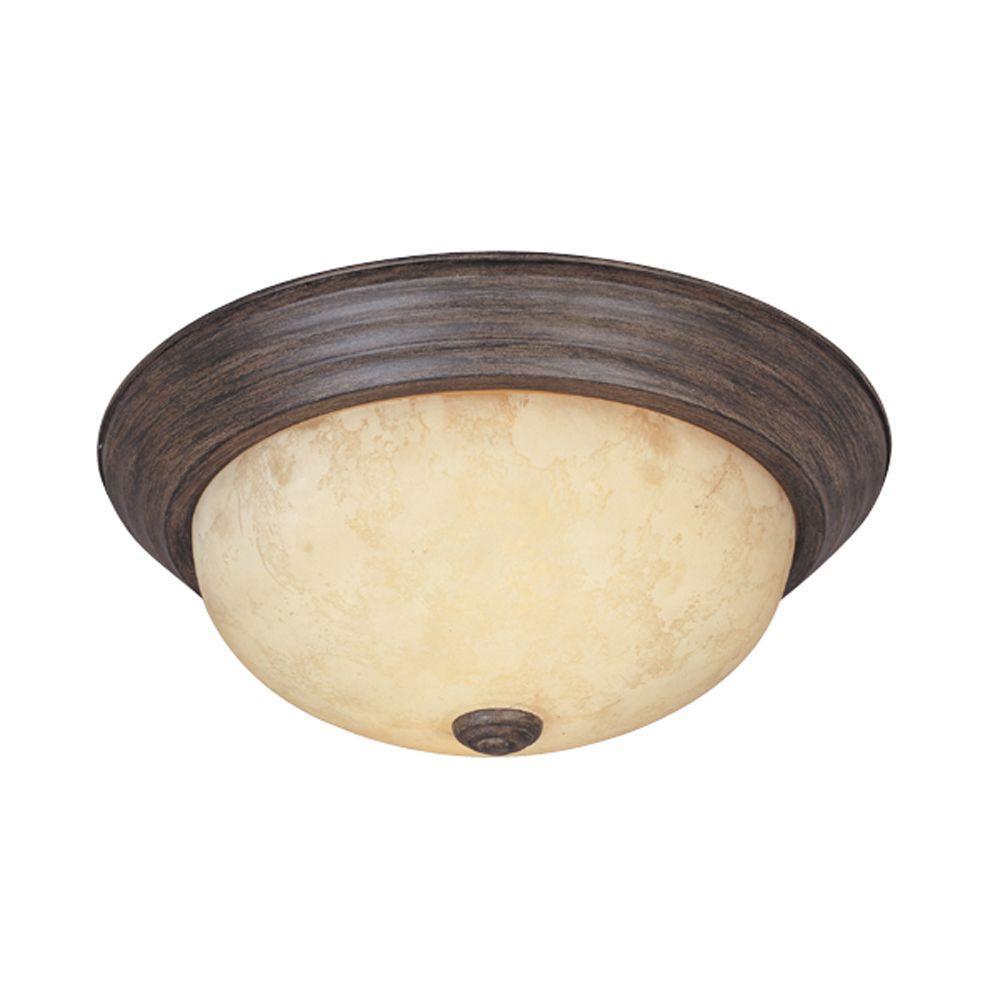 Reedley Collection 2-Light Warm Mahogany Ceiling Flushmount