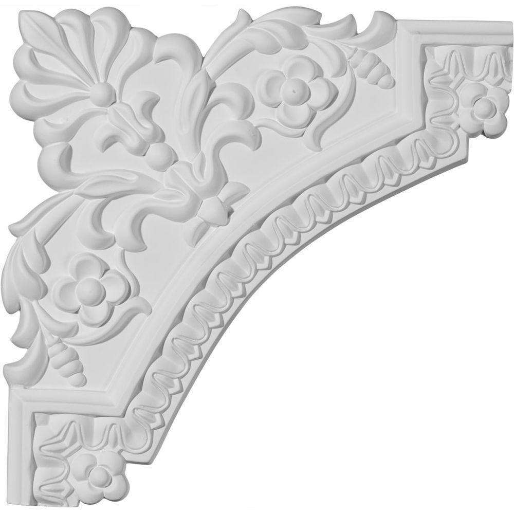 Ekena Millwork 11-3/4 in. x 3/4 in. x 11-3/4 in. Urethane Lanarkshire Panel Moulding Corner (Matches Moulding PML01X00LA)