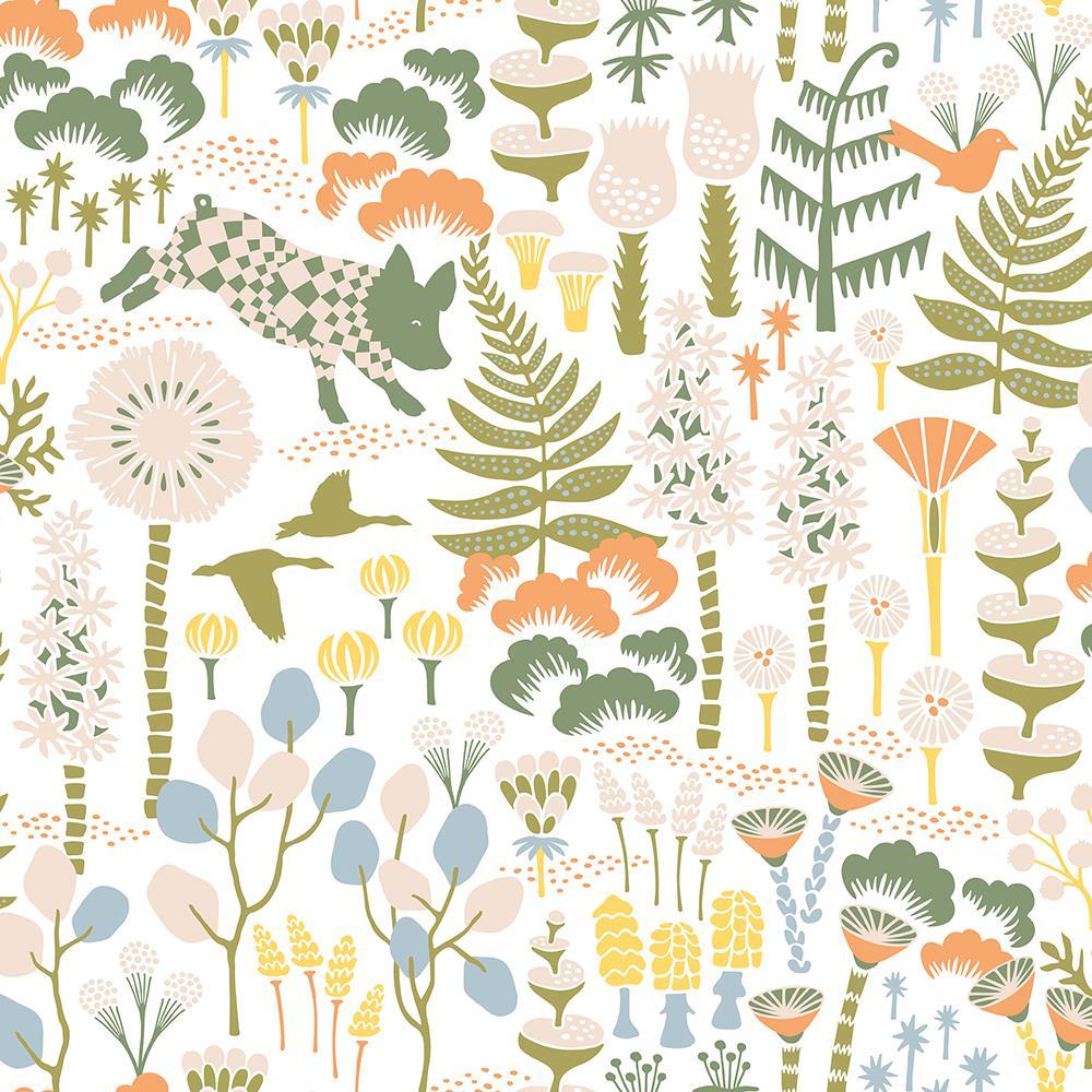 8 in. x 10 in. Hoppet White Folk Wallpaper Sample