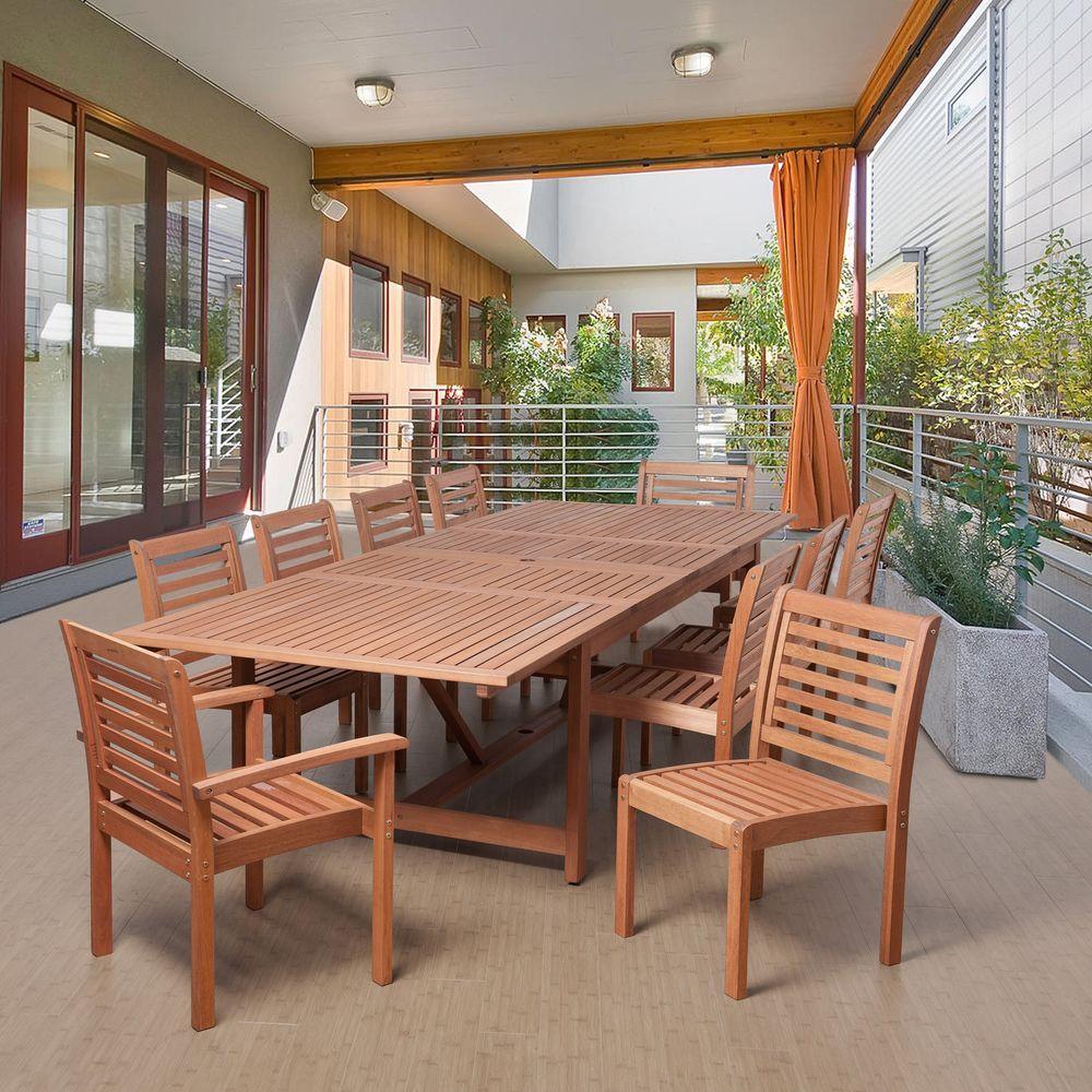 Turner 11 Piece Eucalyptus Extendable Rectangular Patio Dining Set