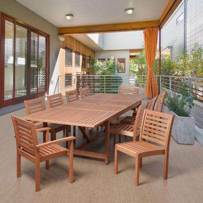 Turner 11-Piece Eucalyptus Extendable Rectangular Patio Dining Set