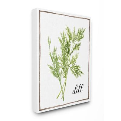 "24 in. x 30 in. ""Watercolor Herb Illustration Dill Painting with Script"" by Artist Grace Popp Canvas Wall Art"