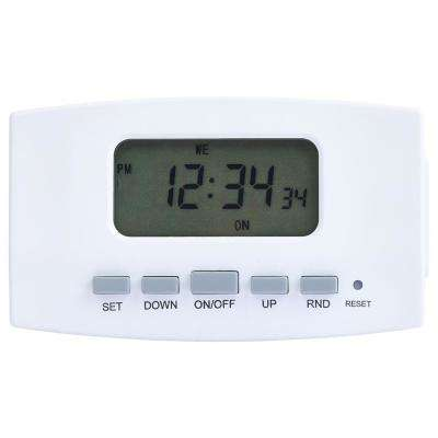 8 Amp 7-Day Indoor Plug-In Digital Bar Timer with Dual Outlets, White