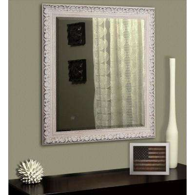 29.5 in. x 35.5 in. French Victorian White Rounded Beveled Floor Wall Mirror