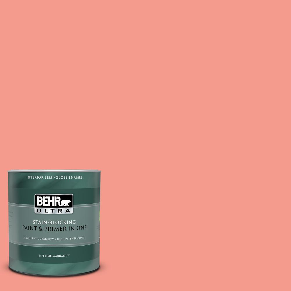 Behr Ultra 1 Qt 180b 4 Fruit Shake Semi Gloss Enamel Interior Paint And Primer In One 375404 The Home Depot