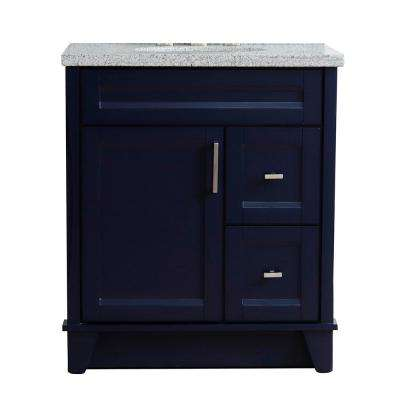 31 in. W x 22 in. D Single Bath Vanity in Blue with Granite Vanity Top in Gray with White Oval Basin