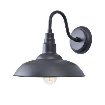 1-Light Black Outdoor Wall Lantern Sconce Light with Gold Inside Shade