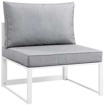 Fortuna Patio Aluminum Armless Middle Outdoor Sectional Chair in White with Gray Cushions