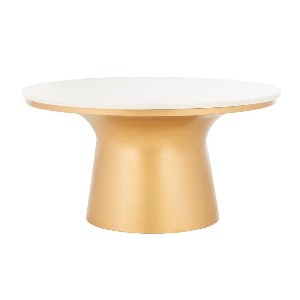 Mila White/Brass Coffee Table