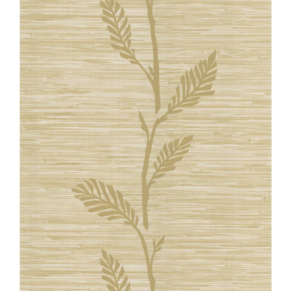 Nzimu Beige Grasscloth Leaf Wallpaper Sample