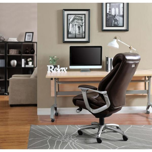 La-Z Boy Cantania Coffee Brown Bonded Leather Executive Office Chair 45776