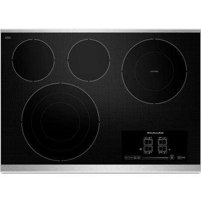 30 in. Radiant Ceramic Glass Electric Cooktop in Stainless Steel with 4 Elements Including Tri-Ring Double-Ring Elements