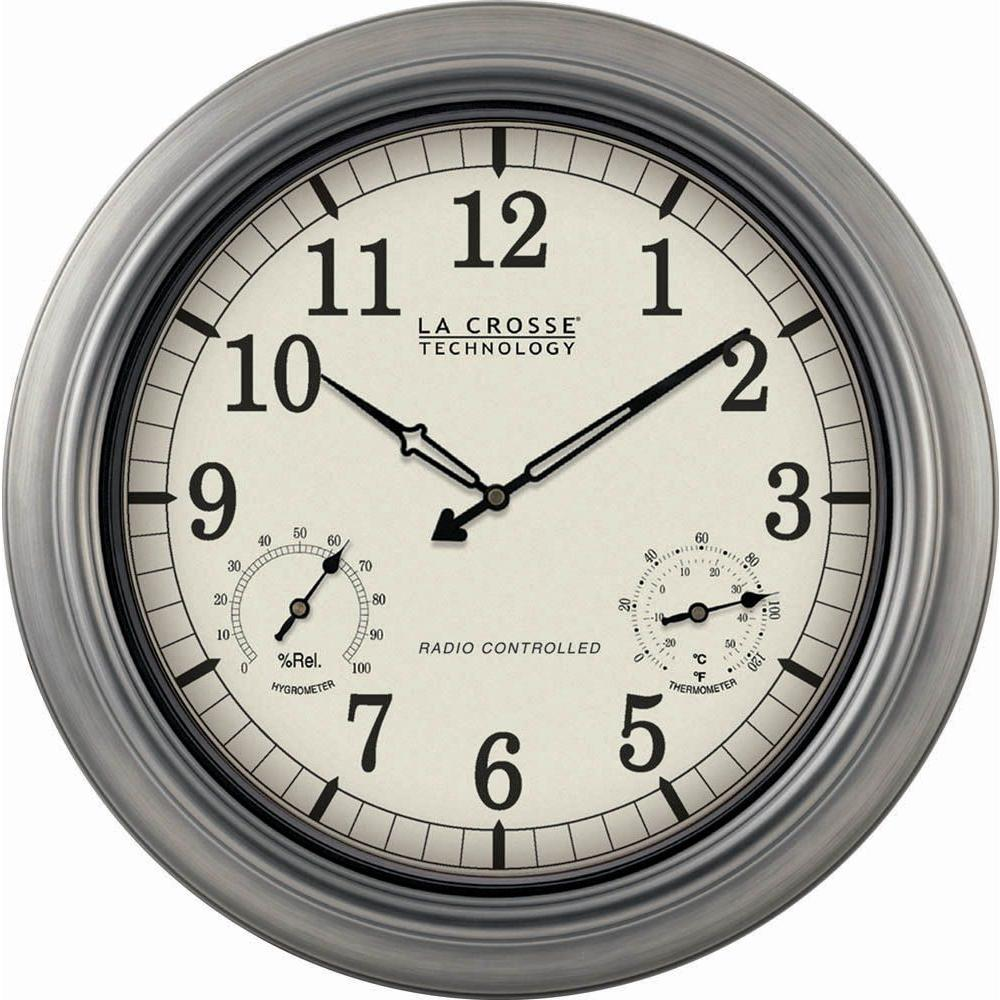 la crosse technology 18 in pewter analog atomic clock wt. Black Bedroom Furniture Sets. Home Design Ideas