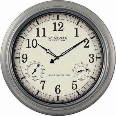 18 in. Pewter Analog Atomic Clock