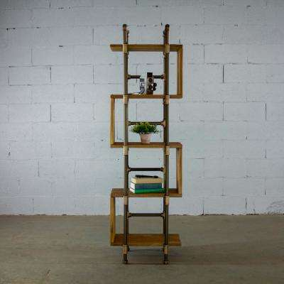 Tucson Modern Industrial, Brown 69 in. Tall Narrow 5-Shelf Etagere Pipe Bookcase Display-Metal-Reclaimed Wood