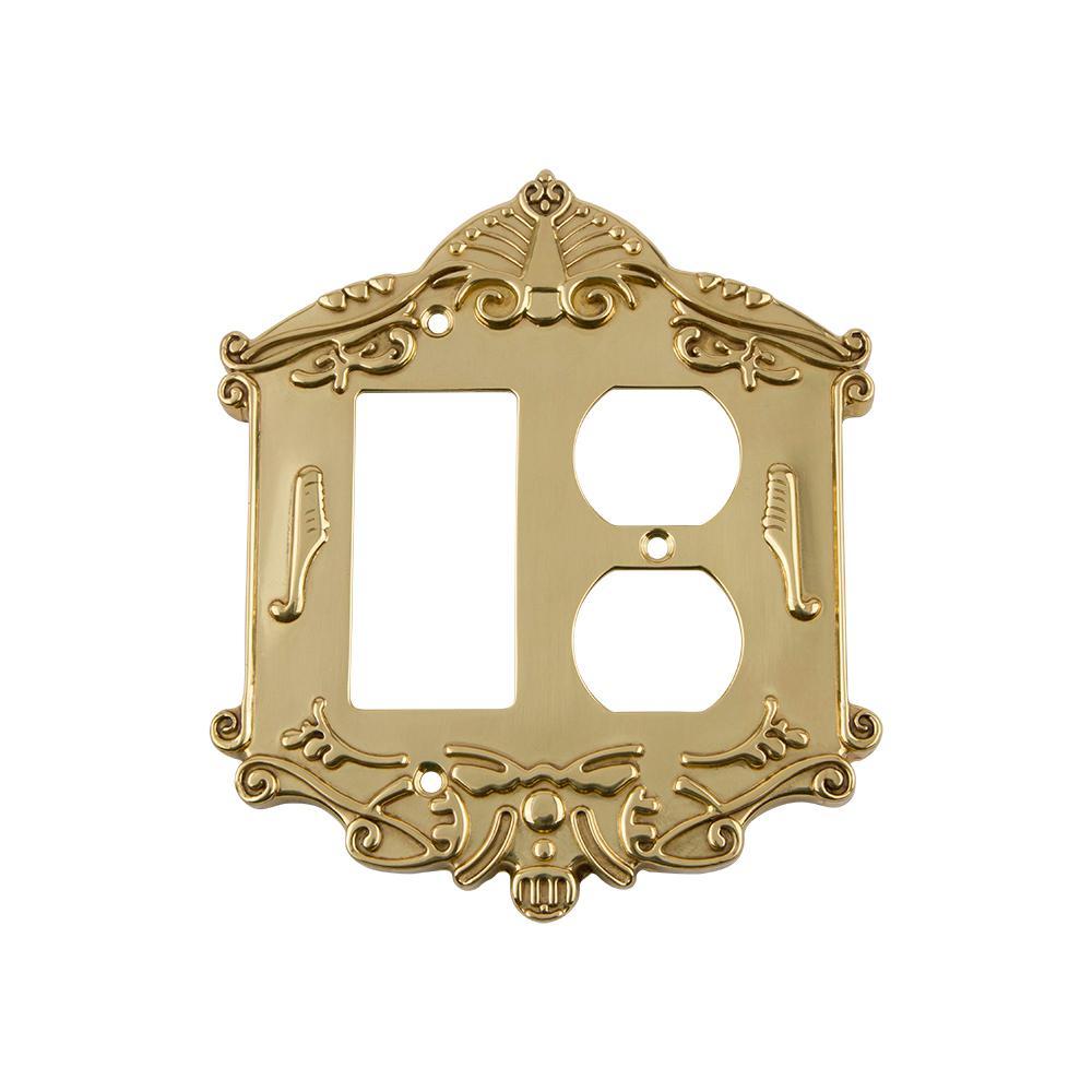 Brass 2-Gang 1-Decorator/Rocker/1-Duplex Wall Plate (1-Pack)
