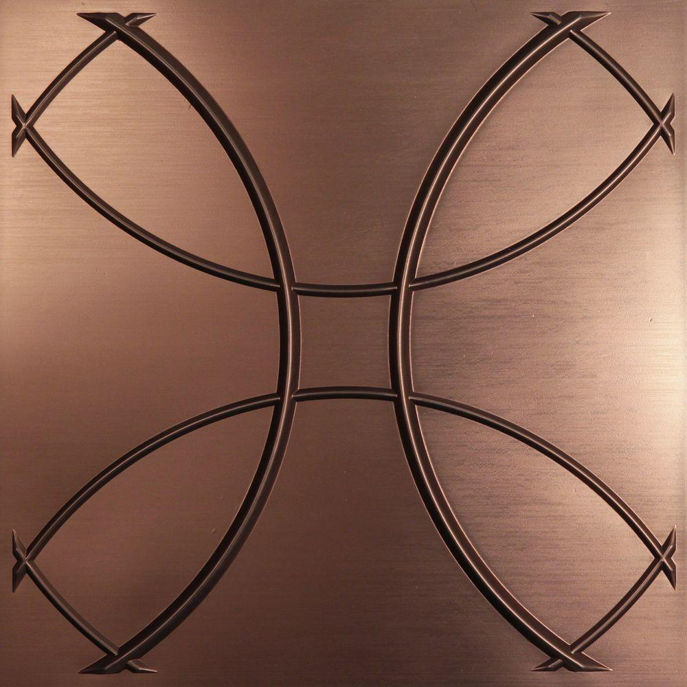Ceilume Celestial Faux Bronze 2 ft. x 2 ft. Lay-in or Glue up Ceiling Panel (Case of 6)
