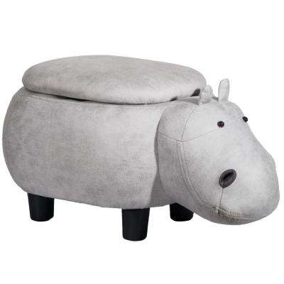 Grey Hippo Animal Storage Ottoman Footrest Stool