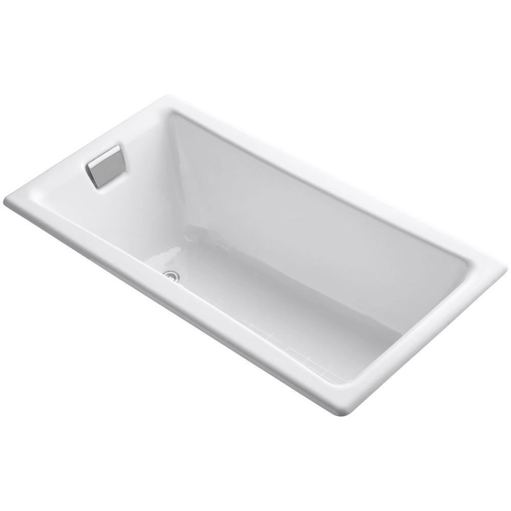 KOHLER Tea-for-Two 5 ft. Reversible Drain Drop-In Cast Iron Bathtub ...