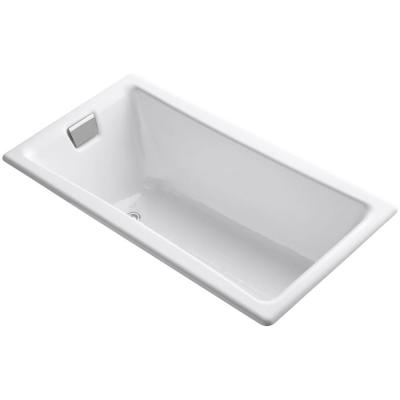 Tea-for-Two 5 ft. Reversible Drain Drop-In Cast Iron Bathtub in White