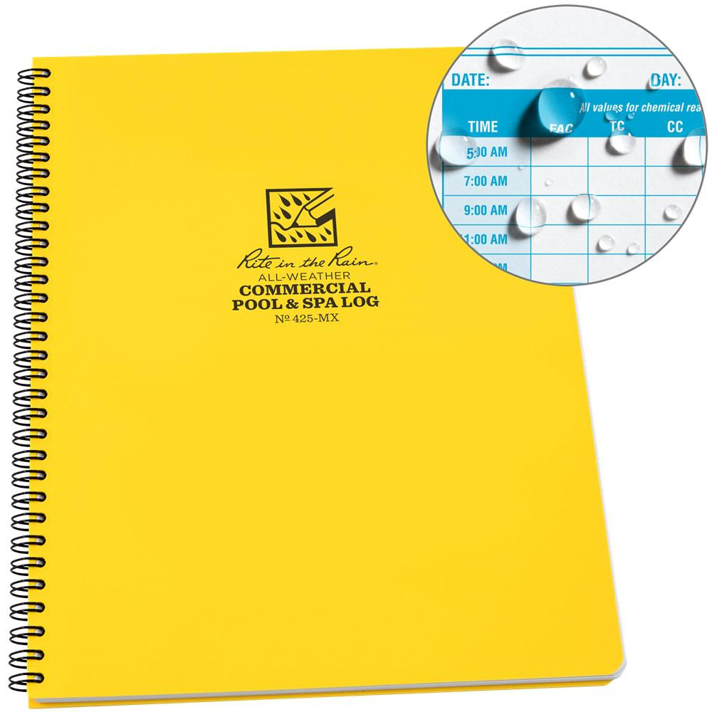 Rite in the Rain All-Weather 8-1/2 in. x 11 in. Side-Spiral Notebook Commercial Pool and Spa Maintenance Log, Yellow Cover
