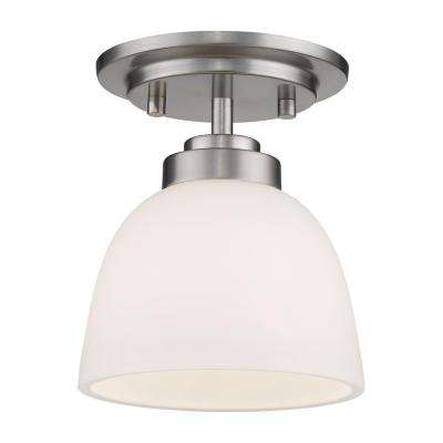 Owen 1-Light 60-Watt Brushed Nickel Flush Mount with Matte Opal Glass