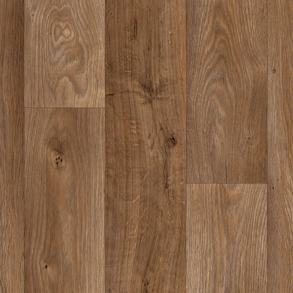 Ivc Take Home Sample Arlington Oak Residential Sheet Vinyl Flooring 6 In. X 9 In., Dark Brown Natural Oak