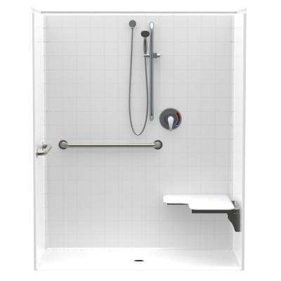 Accessible Smooth Tile AcrlyX 60 in. x 34 in. x 74.9 in. 1-Piece ADA Shower Stall w/ Right Seat and Grab Bars in White