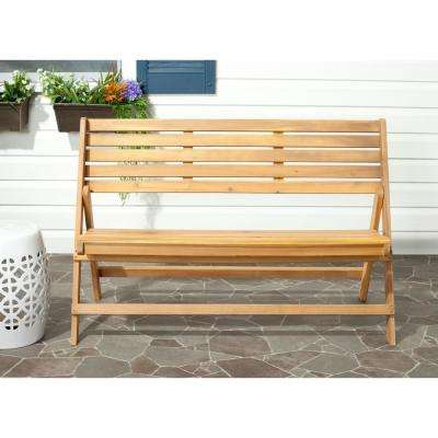 Luca Natural Brown Acacia Wood Folding Patio Bench