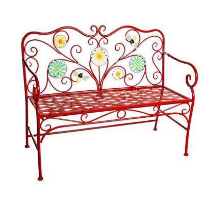 43 in. Red Bees and Flowers Metal Outdoor Garden Bench