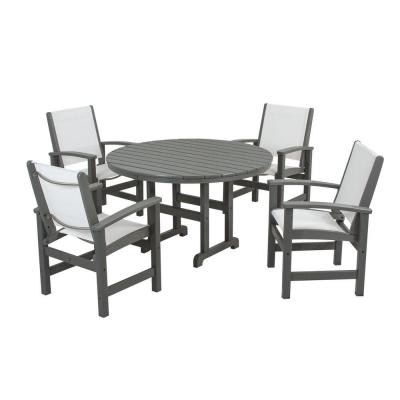 Coastal Slate Grey All-Weather Plastic Dining Set in White Slings