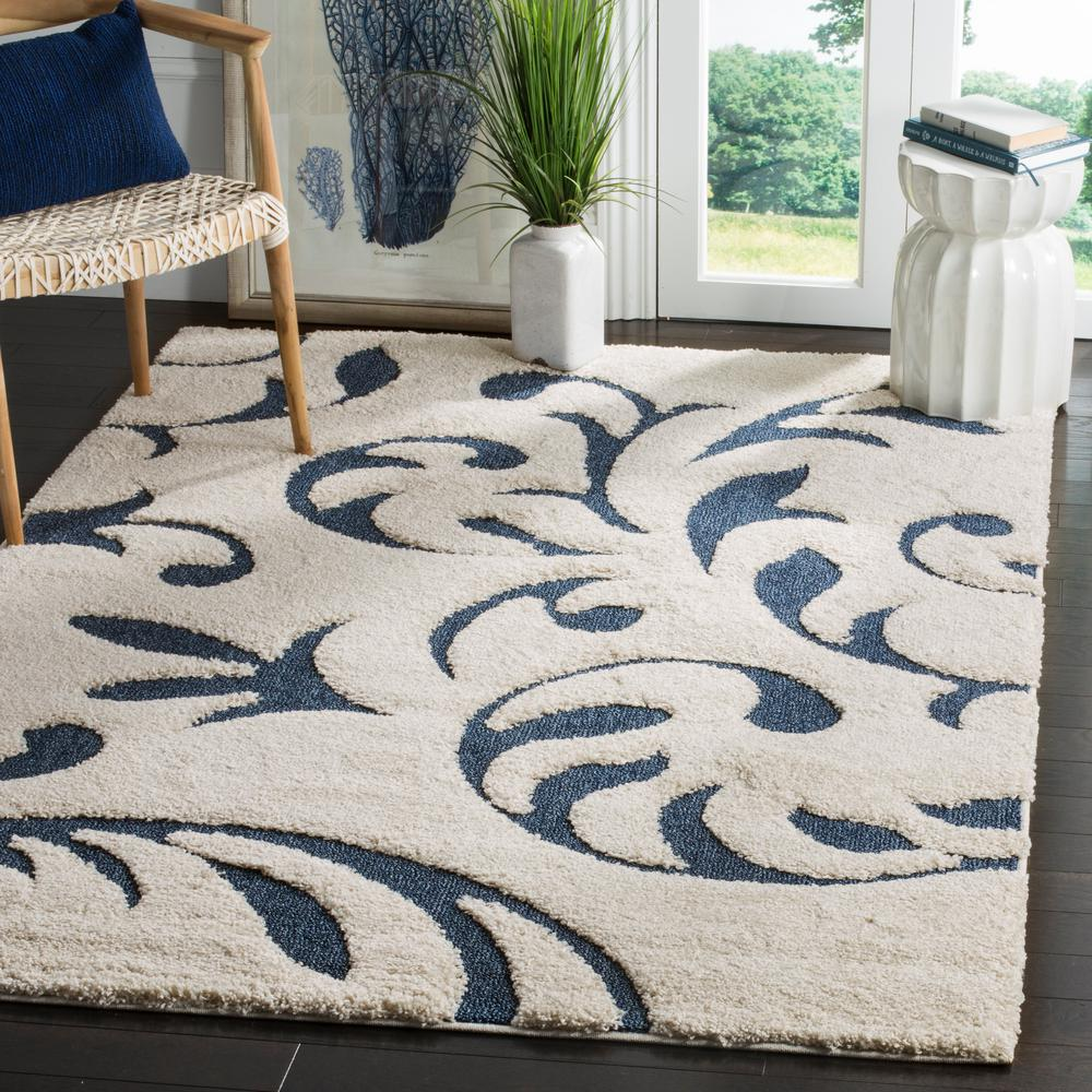 Safavieh Florida Shag Cream Blue 4 Ft X 6 Ft Area Rug