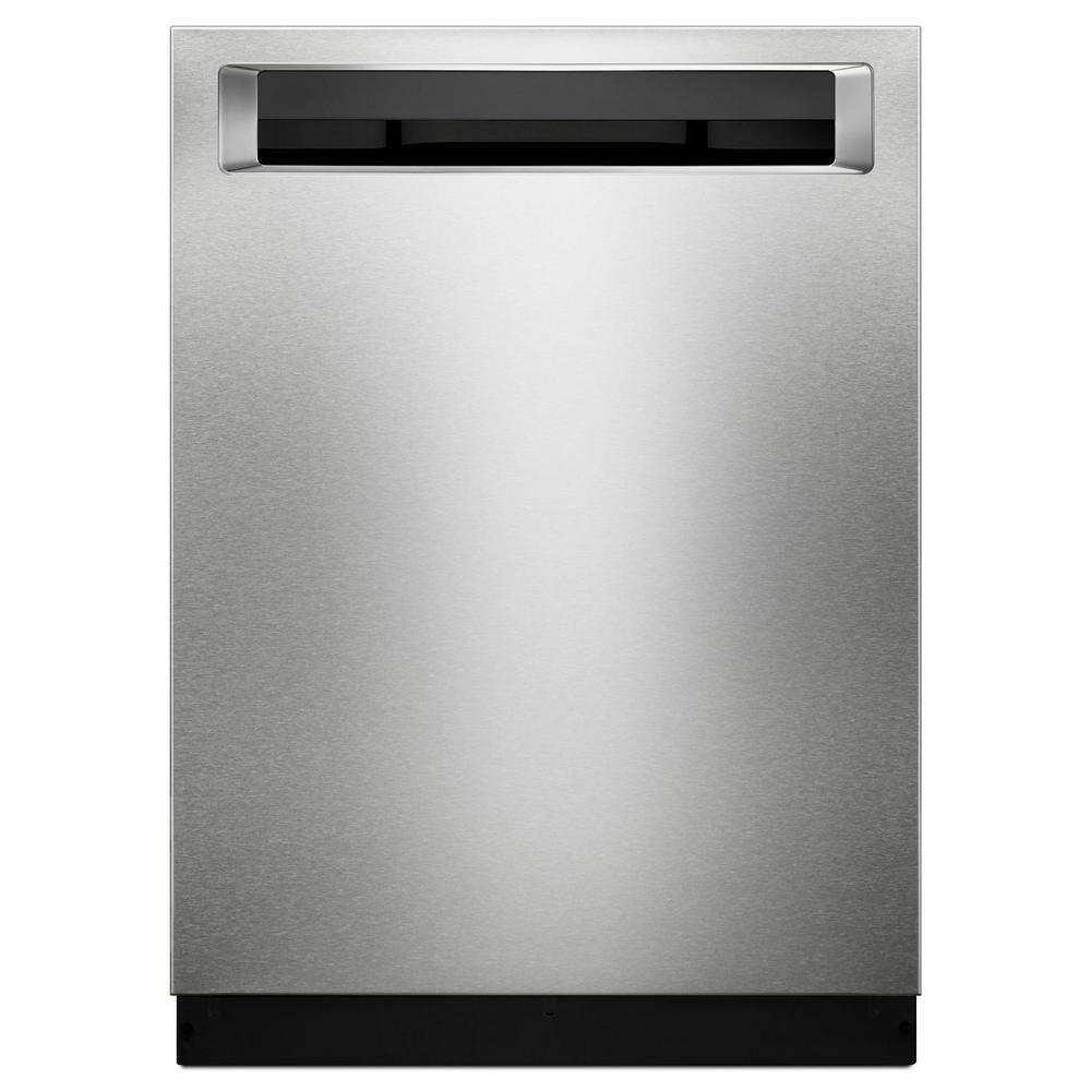 KitchenAid 24 in. Top Control Built-In Tall Tub Dishwasher with Bottle Wash Option in Stainless Steel with PrintShield