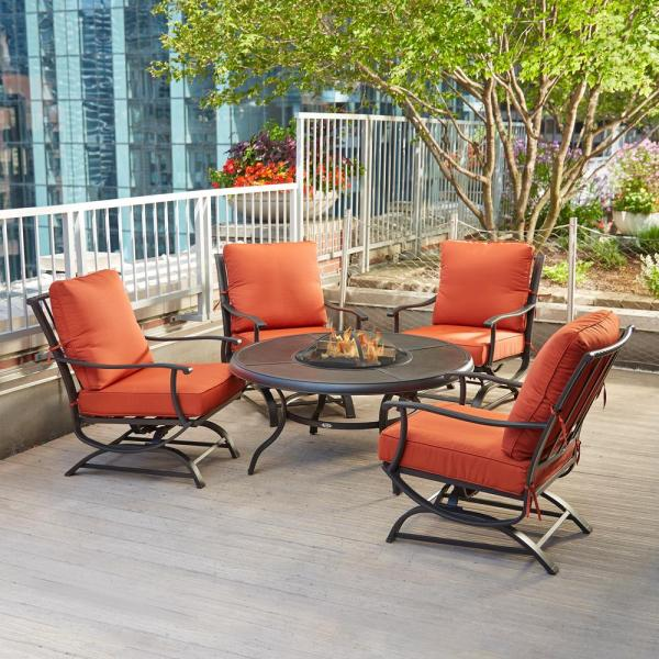 Hampton Bay Redwood Valley 5 Piece Metal Patio Fire Pit Seating Set With Quarry Red Cushions Fss60428rst The Home Depot