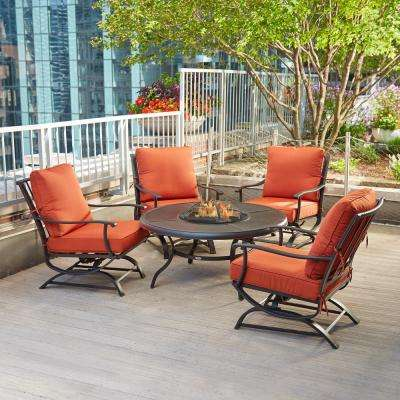Redwood valley 5 piece metal patio fire pit seating set with quarry red cushions