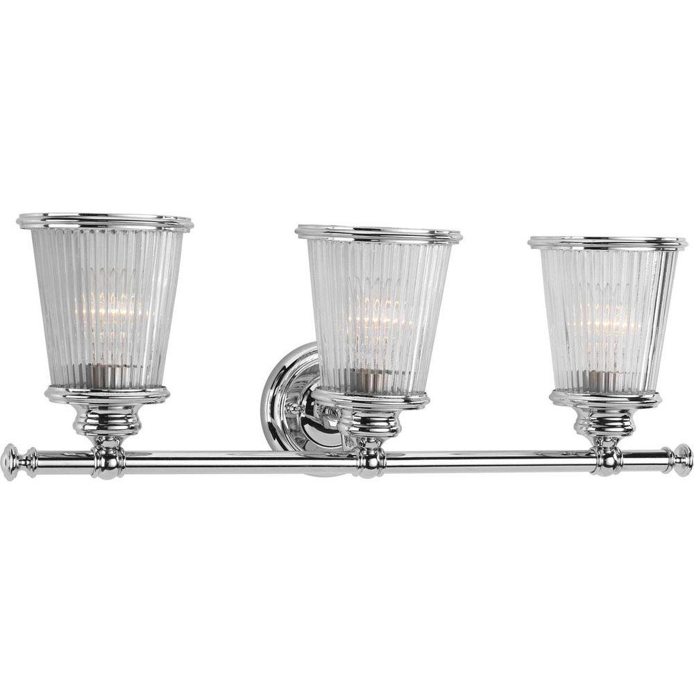 Progress lighting radiance collection 3 light polished chrome vanity progress lighting radiance collection 3 light polished chrome vanity light with clear ribbed glass shades aloadofball Images