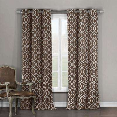 Harris 84 in. L x 36 in. W Polyester Blackout Curtain Panel in Chocolate (2-Pack)