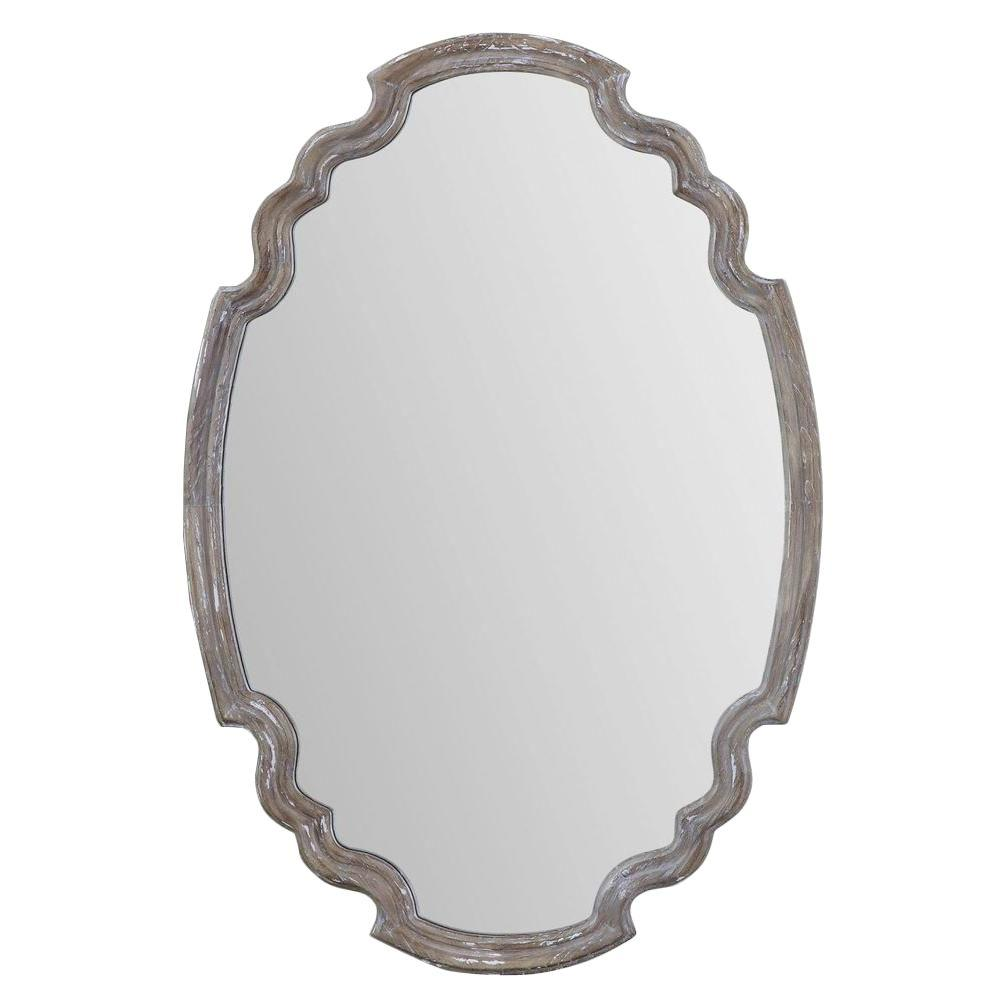Global Direct 35 in. x 24 in. Aged Wood Finished Oval Framed Mirror