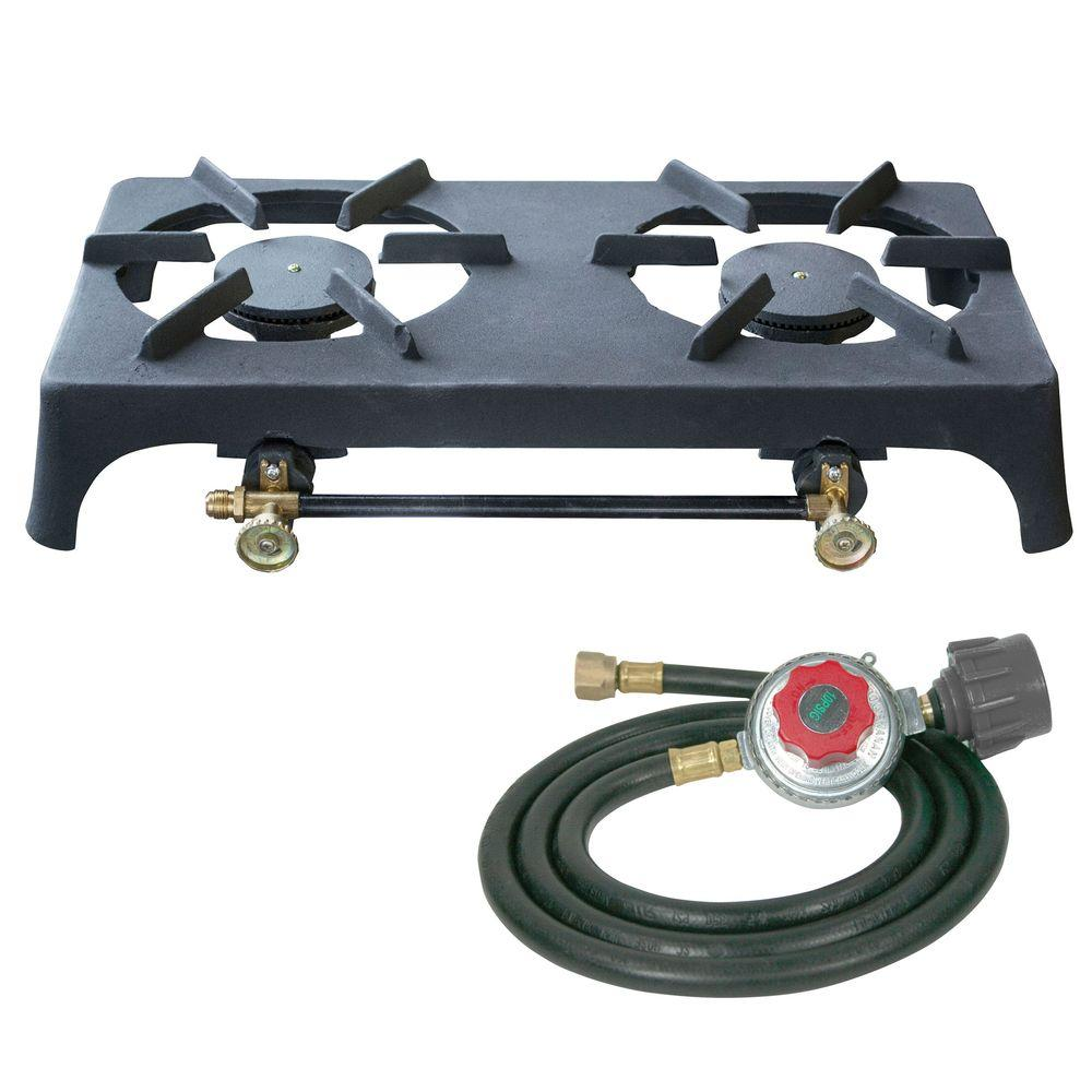 Double Burner Cast Iron Stove with Regulator Hose