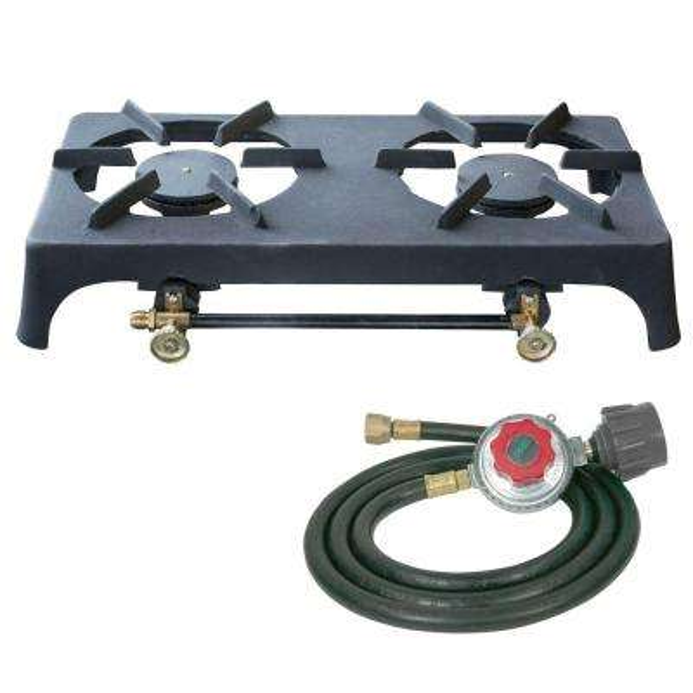 Double Burner Cast Iron Stove with Regulator Hose