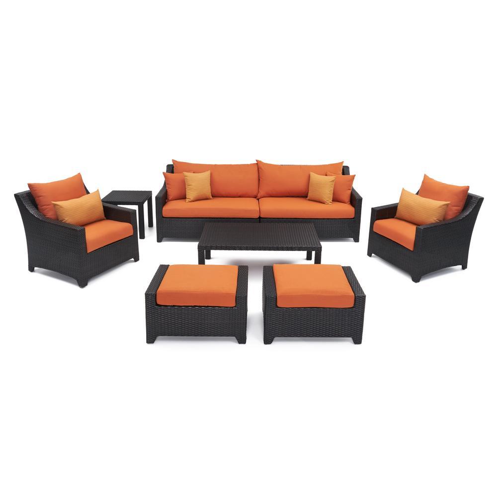 Deco 8 Piece All Weather Wicker Patio Sofa And Club Chair Seating Set With Sunbrella Tikka Orange Cushions