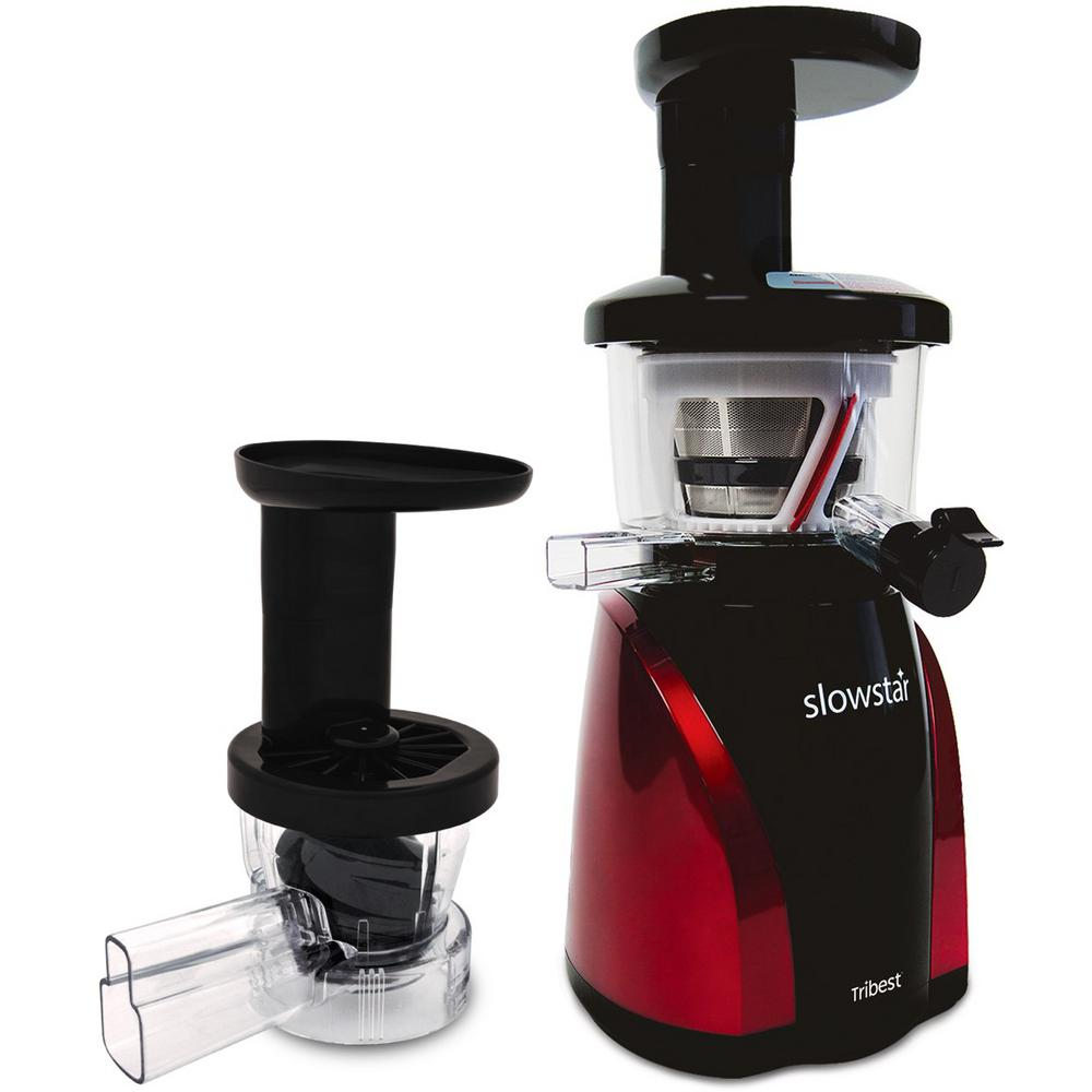 Slowstar Vertical Juicer, Black/Red The Tribest Slowstar Vertical Masticating Slow Juicer and Mincer can quietly juice your favorite fruits and vegetables at a Best in Class low-speed of 47 RPM. The Doublade double-edged auger creates a double cut, doing twice as much work compared to a traditional auger. The Mincing Attachment turns the Slowstar into a multi-purpose tool to create your favorite recipes like sorbets, nut butters, pt and sauces. The Slowstar is a 2-in-1 machine that is the perfect solution to get the most out of your produce. Color: Black/Red.