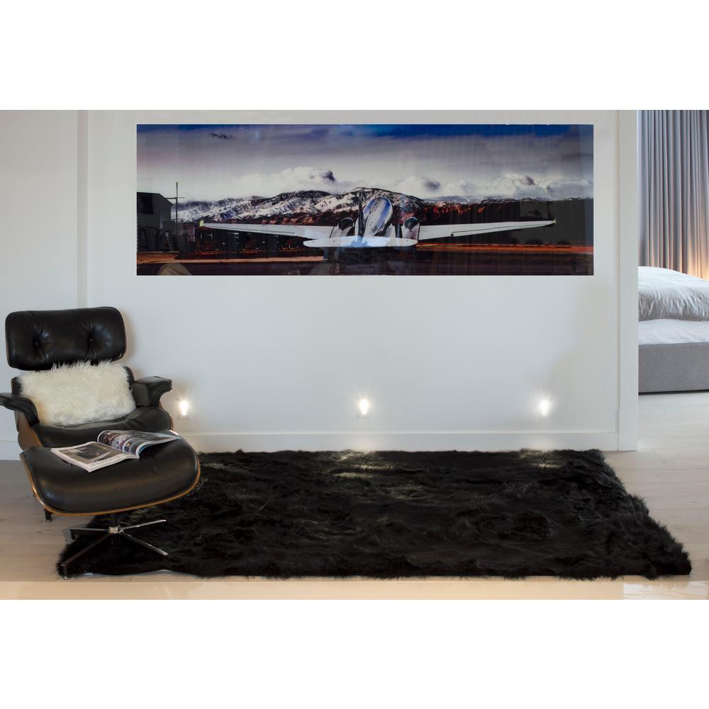Hudson Black 5 ft. x 8 ft. Faux Sheepskin Indoor Rug
