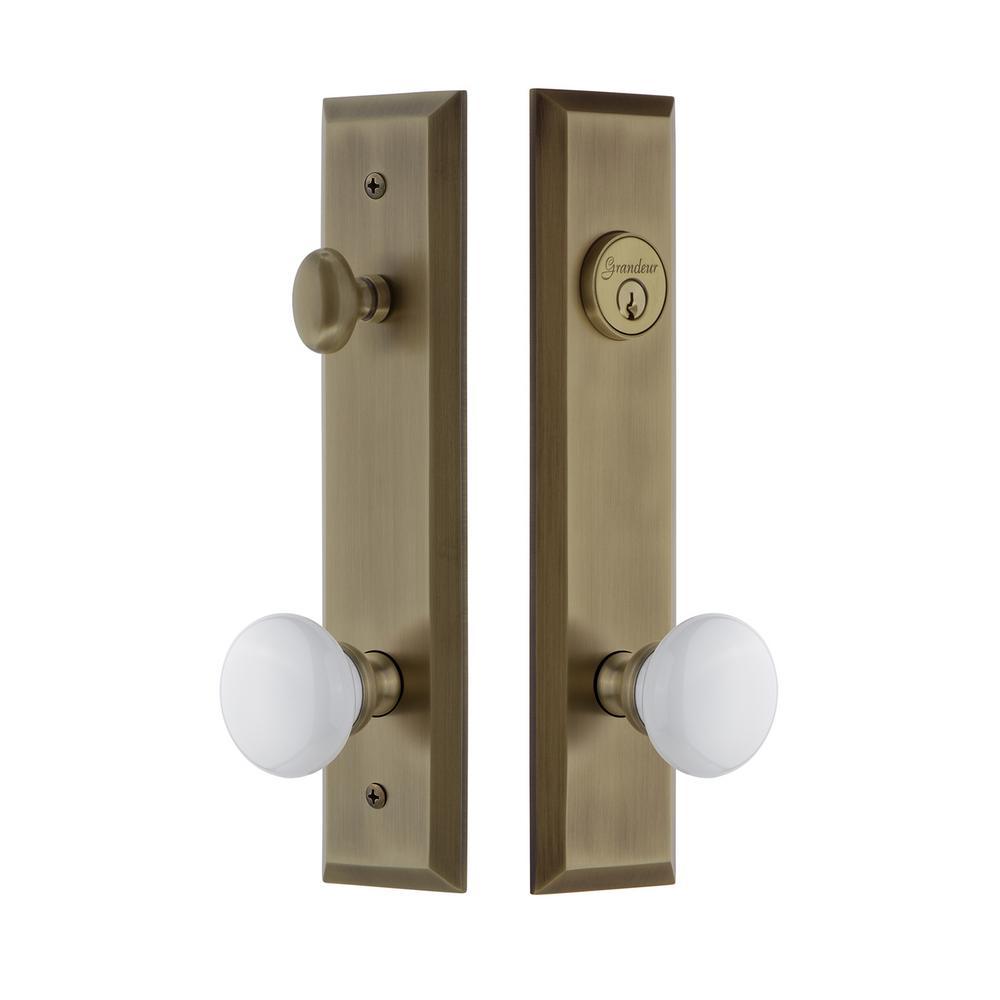 Fifth Avenue Tall Plate 2-3/8 in. Backset Vintage Brass Door Handleset with Hyde Park Door Knob