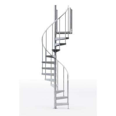 Reroute Galvanized 42 in. (3 ft. 6 in.) Wide 12 Treads with One 42 in. H Platform Rail Spiral Stair Kit