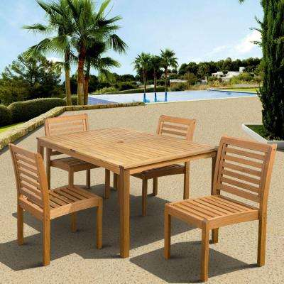 Eucalyptus 5-Piece Armless Rectangular Patio Dining Set